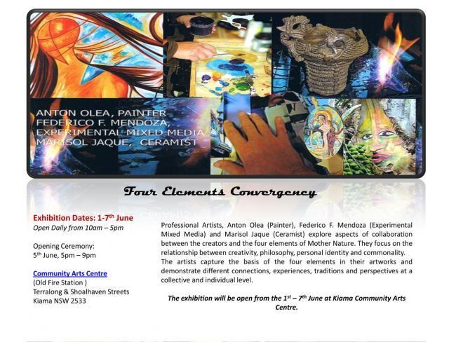 Ffmendoza - Invitation Exhibition - Four Elements Convergency -Kiama _NSW