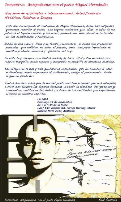 Ffmendoza - Cartel; Encuentros Antipodeanos con el poeta Miguel Hernández