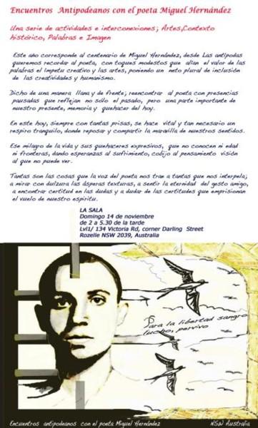 Cartel; Encuentros Antipodeanos con el poeta Miguel Hernández